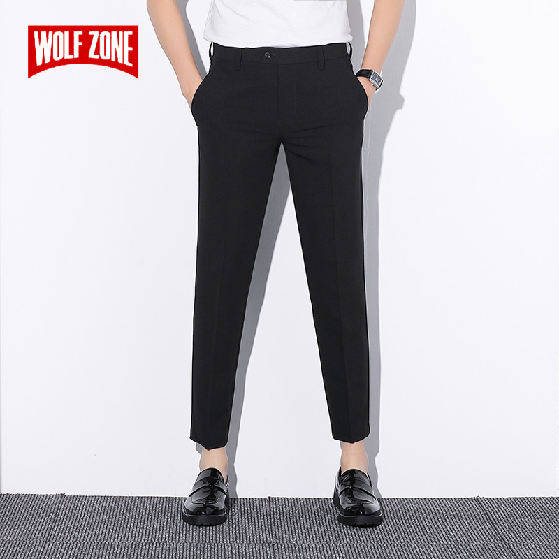 Fashion Casual Straight Man Pants Classic Business Slim Fit Trousers Men 2019 Brand New High Quality Full Length Pants