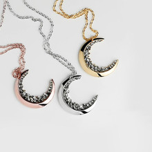 New Jewelry Gold Crescent Crystal Necklace For Stylish Ladies Stainless Steel Rose Gold Long Chain Accessories Lovers holiday stylish turquoise crescent necklace for women