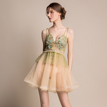 Sexy Prom Dresses 2019 Light Green Puffy Party Gown Short See Through Nightclub Mini Gala Elegant