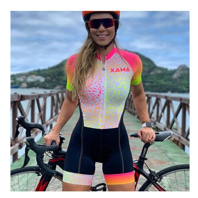 Xama profissional triathlon skinsuit camisa de ciclismo define macaquinho feminino roupas ir pro equipe macacão Roupas de trabalho roupas femininas com frete gratis  macacão ciclismo feminino ciclismo feminino 3