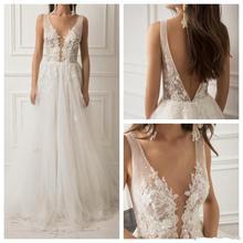 vivians bridal fashion boho wedding dress sexy deep v-neck 3d flower lace appliques backless soft tulle elegant