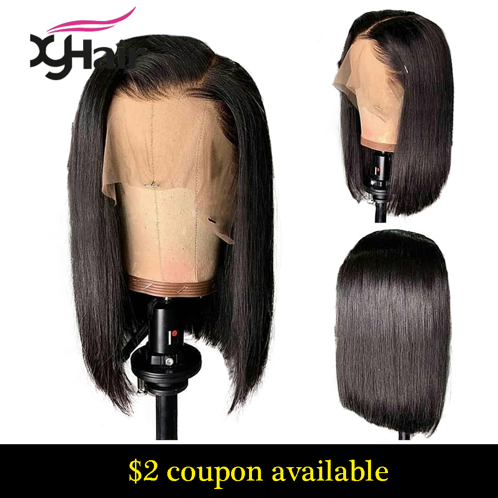 Xyhair Bob Wigs Short Lace-Front Pre-Plucked Straight Women Brazilian 13x4