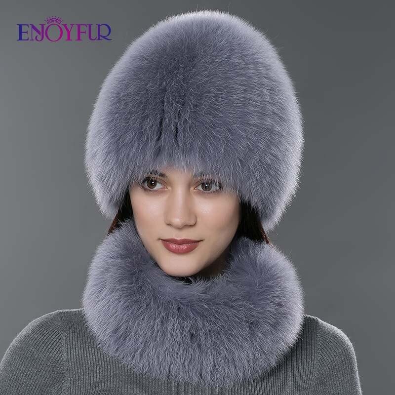 Femmes fourrure chapeau écharpe ensemble pour hiver naturel fourrure de renard écharpe et chapeau couleur unie nouvelle mode rue shoot chapeau et écharpe - 5