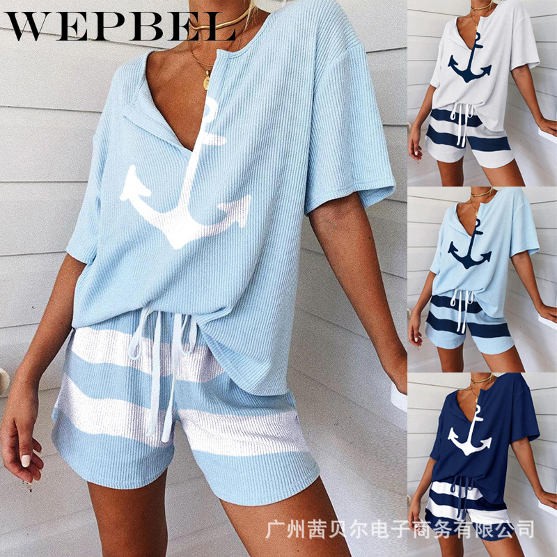 WEPBEL Women Pajamas Set Summer Loose Short Sleepwear Girls Comfortable Home Clothing Set