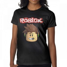 Women's Funny Roblox Character Head Video Game Graphic T-Shirts Black(China)