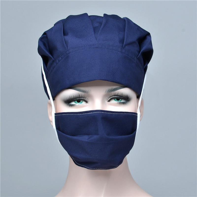 Women Caps Mask Sets Hospital Surgical Lab Work Wear Scrub Operation Clinic Doctor Nurse Chef Solid Caps Cover Suits