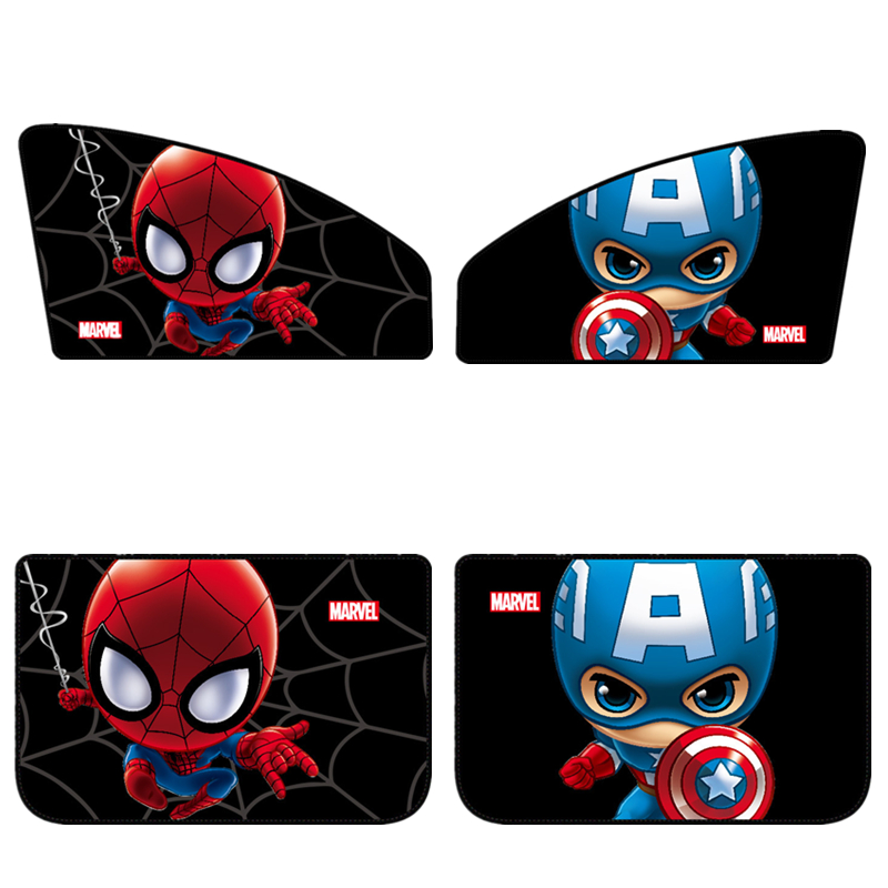 1pcs Cartoon Marvel Car Curtains Mesh On Window Cute Spider-man Captain America Sunshades Covers Frame Blinds For Cars Sun Shade