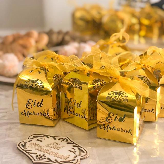 Meidding ラマダン紙ギフトボックスカリーム装飾イードムバラクバナー家の装飾イード · アル · fitr ラマダン mubarak パッキング装飾バルーン