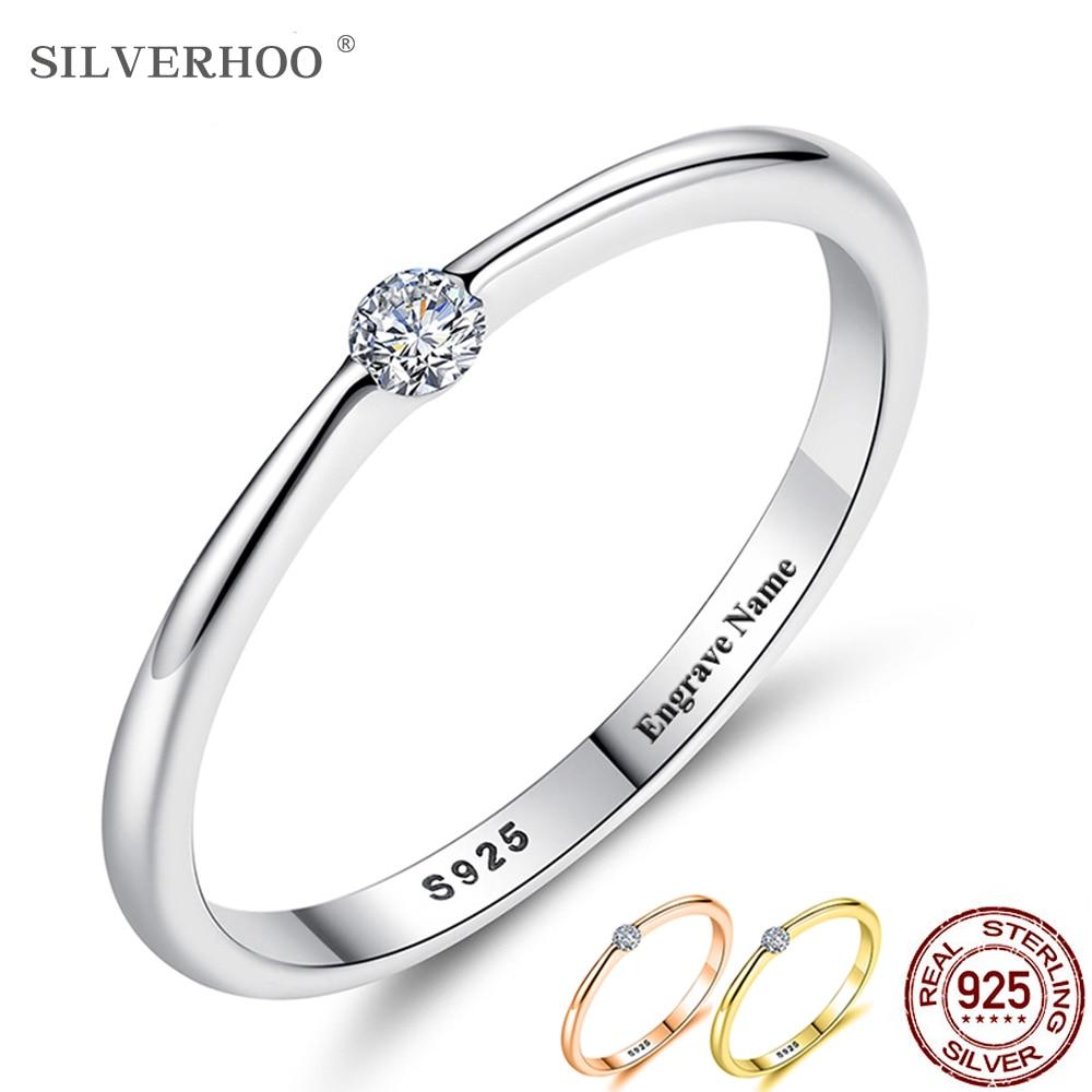SILVERHOO 925 Sterling Silver Rings For Women Cute Zircon Round Geometric 925 Silver Wedding Fine Jewelry Minimalist Gift