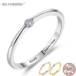 SILVERHOO 925 ayar gümüş yüzük kadınlar için sevimli zirkon yuvarlak geometrik 925 gümüş düğün güzel takı Minimalist hediye