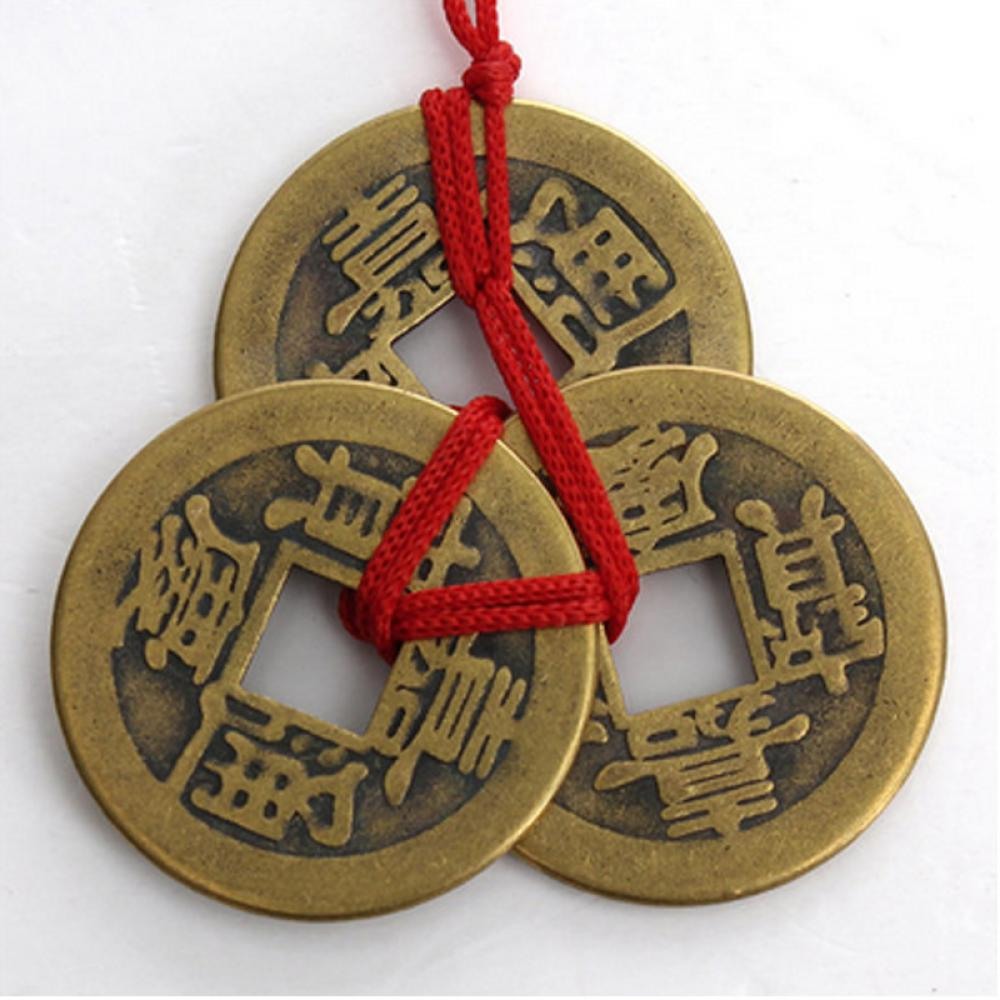 3Pcs/Set Chinese Feng Shui Lucky Ching/Ancient Coins Set Antique Fortune Money Coin Luck Fortune Wealth Decorations For Home
