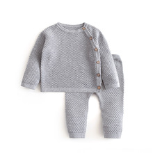 Infant Baby Sweater Suit 2021 Spring Autumn Boys Knitting Sweater Sets Warm Cotton Girls Clothing 2pcs Newborn Clothes 0-3 Years cheap Polyester 0-6m 7-12m 13-24m 25-36m CN(Origin) Four Seasons baby unisex Casual O-Neck Single Breasted Full Regular Fits true to size take your normal size