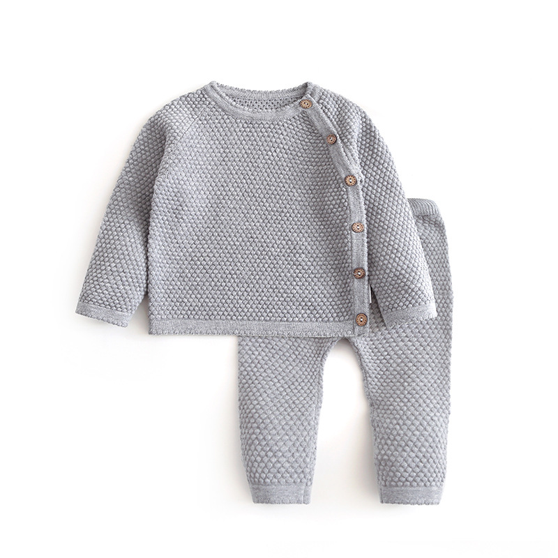 Infant Baby Sweater Suit 2021 Spring Autumn Boys Knitting Sweater Sets Warm Cotton Girls Clothing 2pcs Newborn Clothes 0-3 Years
