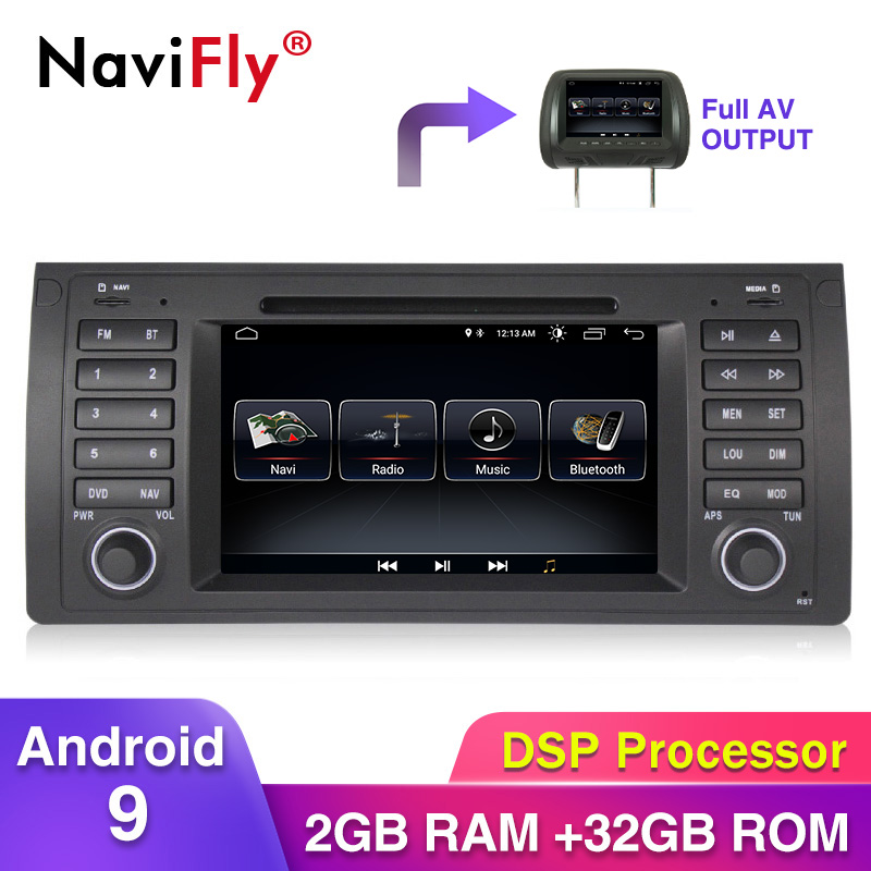 free shipping <font><b>1din</b></font> Android9 Quad core Car Multimedia Player GPS For E39 X5 E53 M5 with canbus wifi BT radio stereo <font><b>Autoradio</b></font> image