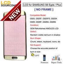Rosso Burn Ombra AMOLED Per Samsung Galaxy S6 Bordo G925 S6 EDEG Più G928 Display LCD di Tocco Digitale Dello Schermo montaggio SENZA CORNICE