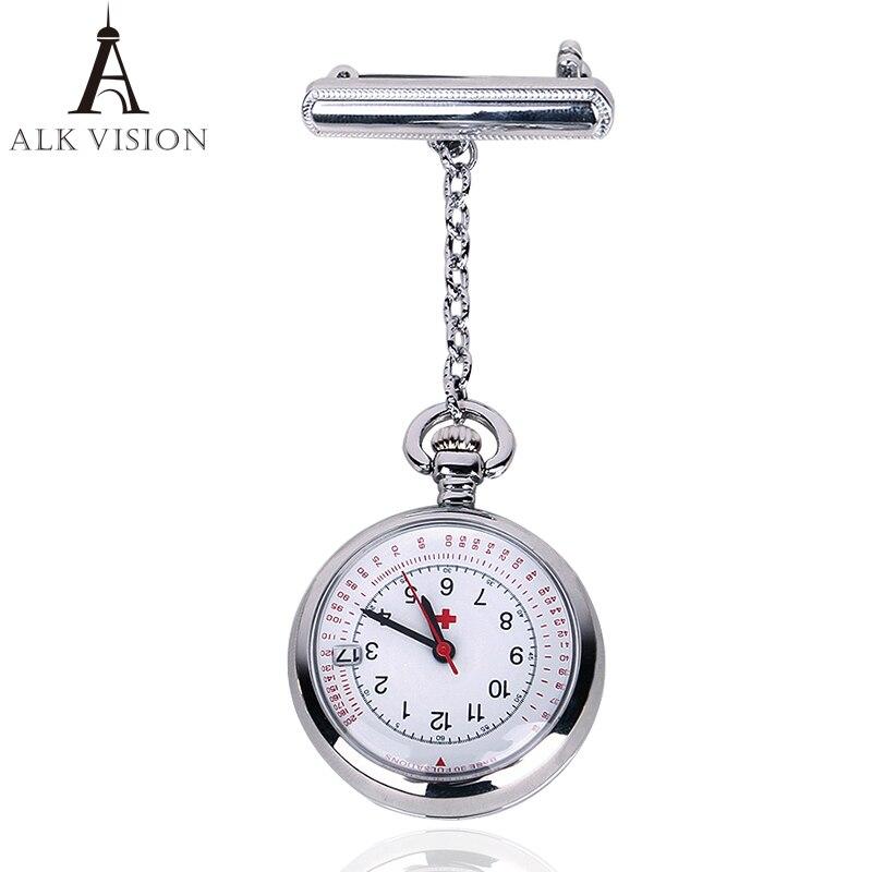 ALK VISION Nurses Watch Fob Nurse Pocket Watch Doctor Top Brand Quartz Brooch Convenient Medical Watch Pendants Rose Gold Silver