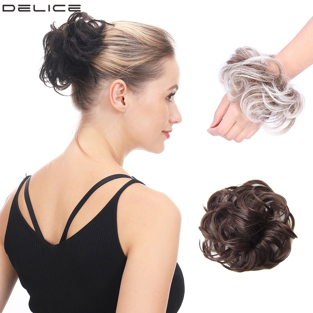 Curly Messy Bun Tousled Hairpiece Elastic Band Wedding Chignon Synthetic Hair Scrunchie For Women & Kids DELICE