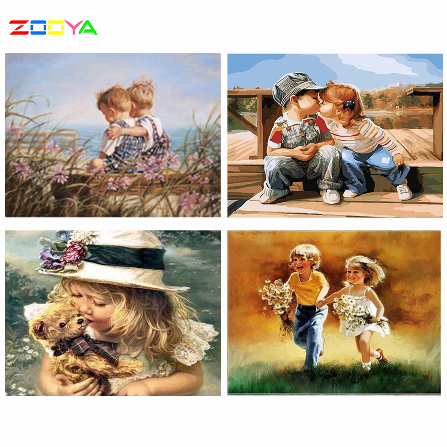ZOOYA diy Diamond Embroidery landscape 5d Diamond Painting by numbers Pictures Sale Kits Mosaic Full Round Drill Two Children(China)