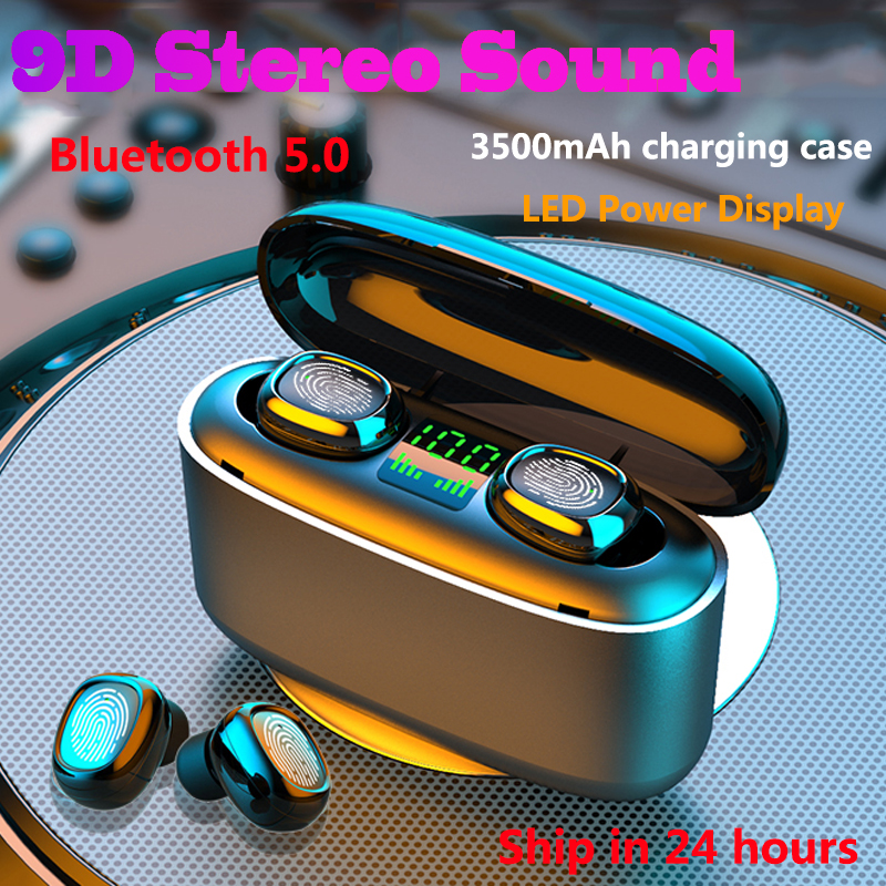 G5s TWS Bluetooth Wireless Earphones LED Power Display Touch Control Sport Headset Noise Cancel Earphone For Phone Power Bank