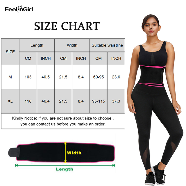 FeelinGirl Neoprene Waist Trimmer Belt Waist Trainer Corset Shapewear Slimming Underbust Body Shaper Sweat Tummy Control Belt 5