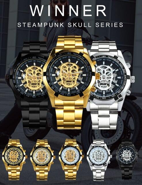 Vencedor oficial ouro relógio automático men cinta de aço esqueleto crânio mecânico relógios marca superior luxo dropshipping atacado 1