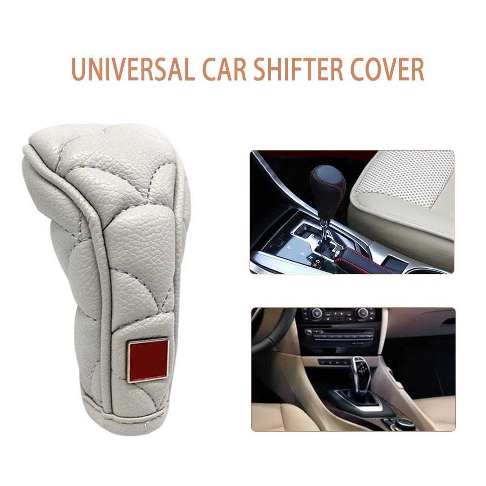 Car Gear Shift Knob Leather Dust-proof Shifter Gaiter Boot Cover Universal Car Shifter Cover Anti-slip Zipper Closure Knob Cover