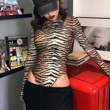 2019 inverno feminino sexy bodysuit outono moda casual manga longa tigre leopardo impresso gola alta bodycon bodysuit para mulher