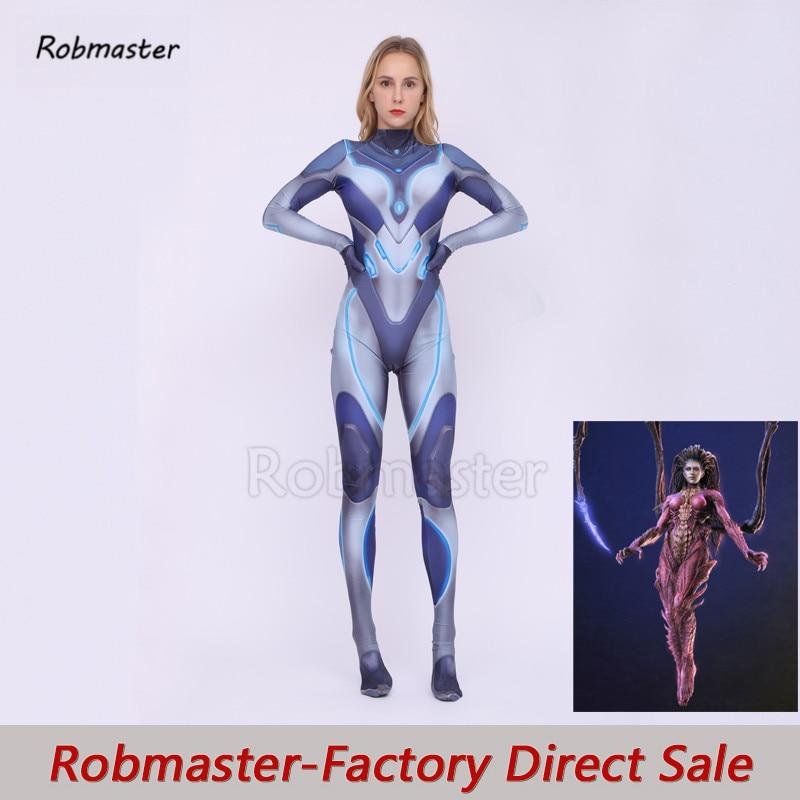 Sarah Louise Kerrigan Cosplay Costumes Spandex Zentai Suit StarCraft Kerrigan Jumpsuit Bodysuit Halloween Costume Women Kid