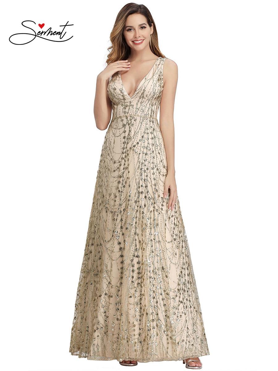 OLLYMURS New Elegant Woman Evening Gown Shoulder Deep V-neck Glitter Texture Banquet Evening Dress Suitable For Formal Parties