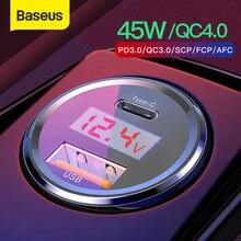 Baseus Quick Charge 4,0 3,0 Auto Ladegerät Für Xiaomi Mi 9 Redmi Hinweis 7 Pro 45W PD Schnelle Telefon ladegerät AFC SCP Für iPhone 11 Pro Max