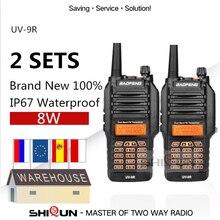 2 adet UV 9R Baofeng 8W radyo 10 KM Dual Band VHF 136 174 UHF 400 520MHz IP67 Walkie Talkie 10 KM yükseltme UV 82 UV 5R UV XR UV 9R