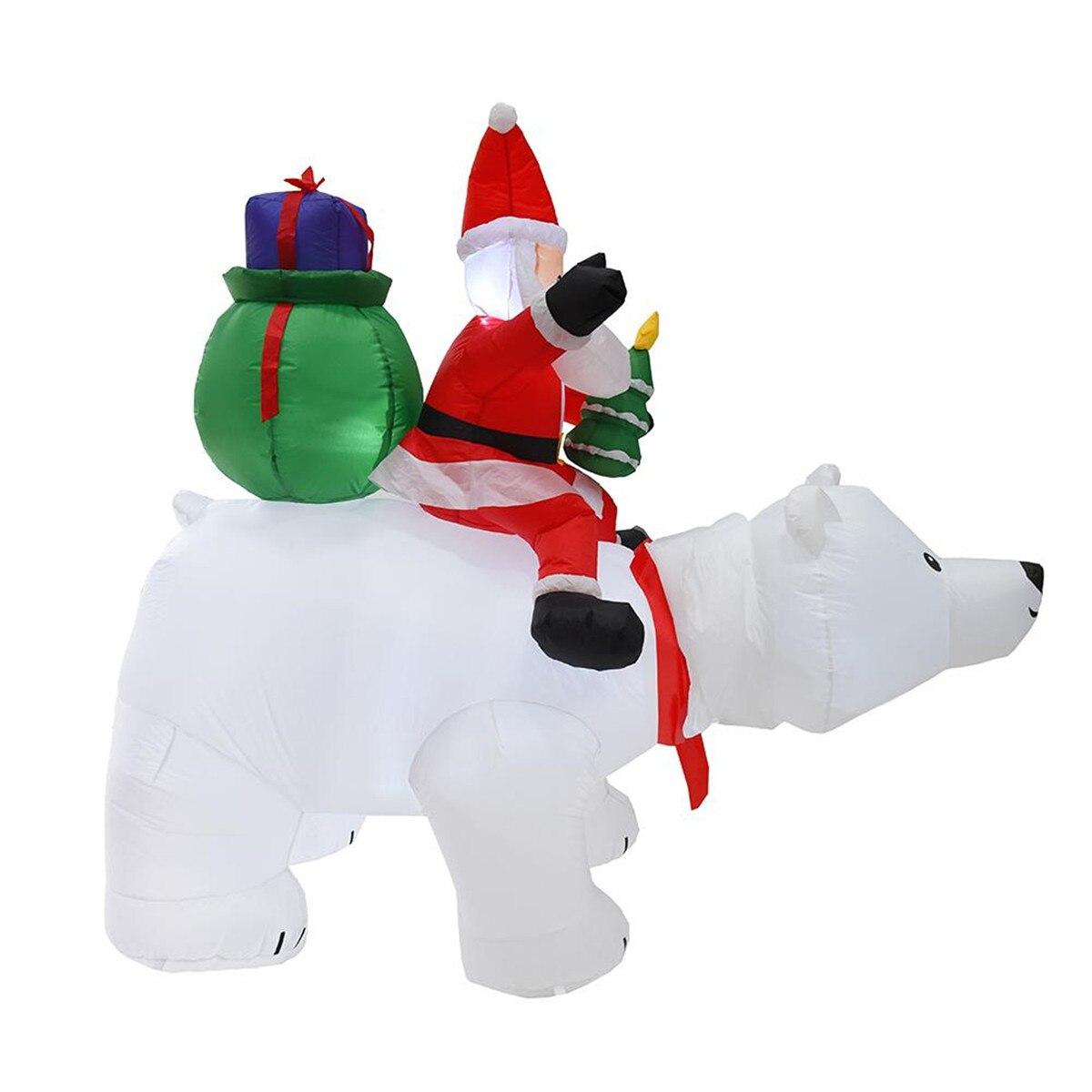 Gigantische Opblaasbare Kerstman Rijden Ijsbeer Kerst Opblaasbare Hoofd Schudden Pop Indoor Outdoor Tuin Ornamenten Xmas Decor