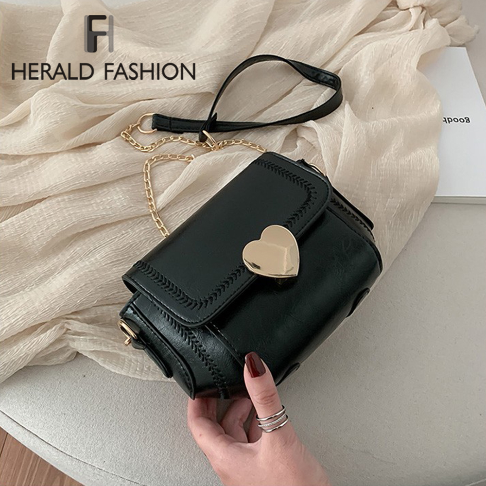 Chain Pu Leather Crossbody Bags For Women 2020 Small Shoulder Messenger Bag Special Lock Design Lady Quality Solid Color Handbag