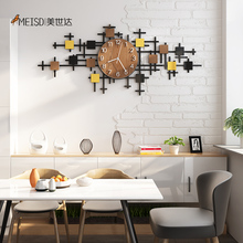Punch-free DIY Wooden Grain Silent Acrylic Large Decorative Wall Clock Modern Design Watch Living Room Kitch Decoration Stickers