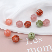 6pcs korea vintage smudge resin perforated beads statement earrings for women hair accessories diy handmade jewelry wholesale