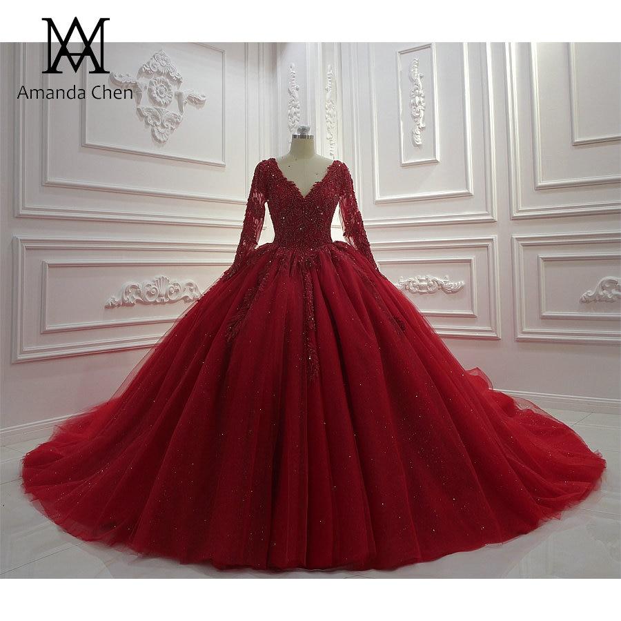 brautkleid volle hülse lange hülse spitze applique red ballkleid hochzeit  kleid langarm