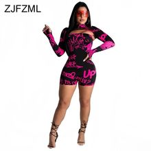 Letter Print Sexy 2 Piece Outfit For Women High Necked Long Sleeve Crop Top And