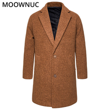 Mens Clothes Coats Male Woollen Overcoat Winter Autumn Fashion Long Business Smart Casual Thick Blends Brand MOOWNUC MWC