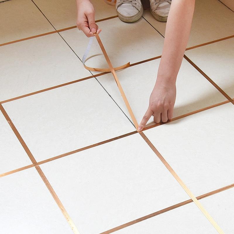 Ceramic Tile Mildewproof Gap Tape Tile Gap Sealing Tape Waterproof Foil Strip Silver Golden Rims For Bathroom Parlor Decorations