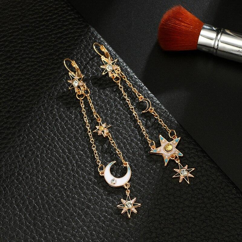 i-Remiel New Jewelry Retro Pentagram Moon Tassel Dangle Earring Geometric Alloy Five-pointed Star Galaxy Drop Earrings for Women