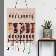 Portable Sunglasses Storage Hanging Bag Earrings Necklace Jewelry Wall Door Hang Ring Organizer Storage Bag