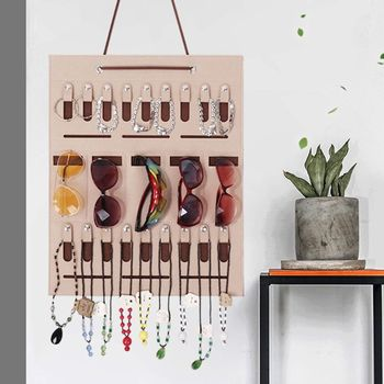 Portable Sunglasses Storage Hanging Bag Earrings Necklace Jewelry Wall Door Hang Ring Organizer Storage Bag cotton waterproof three layer receive to hang bag simple cloth art wall hanging door after the sundry hanging bag storage bag