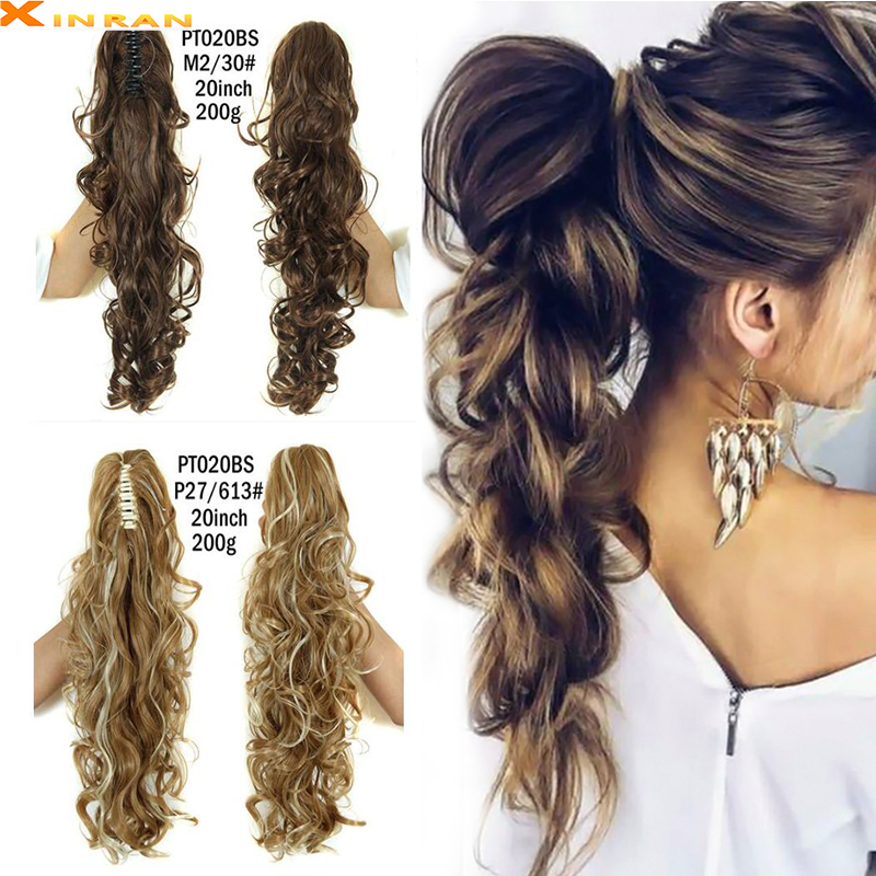 XINRAN Claw Clip Wavy Ponytail Extensions Synthetic Fiber Long Thick Wave Pony Tail Hair Piece Clip In Hair Extensions For Women