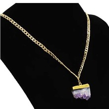 2020 Fashion Rock Long Gold Chain Pendant Necklace Natural Stone Purple Crystal Necklaces For Women Jewelry fashion jewelry handmade beaded natural green stone long chain sweater metal sequins pendant necklace