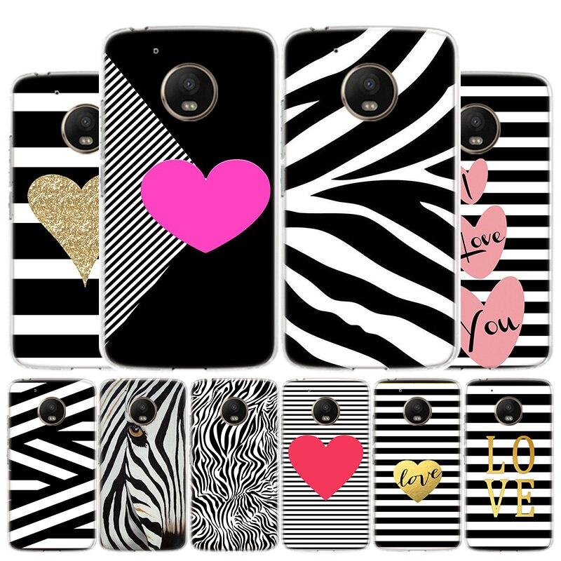 Black White Zebra Stripe Phone Case For Motorola Moto G8 G7 G6 G5S G5 G4 E6 E5 E4 Plus Play Power One Action X4 Cover Coque