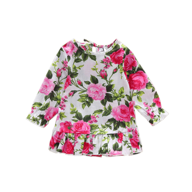 1-3T baby girl cotton dress long sleeve vestido infantil red ruffle bell floral shirt