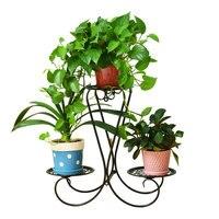 European wrought iron multi-level indoor balcony living room space floor-standing decorative frame flower pot rack flower shelf