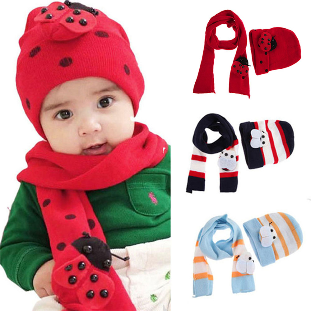 1 Set 8 Month To 2 Years Old Winter Warm Baby Boys Girls Hat Scarf Set Cute Knitted Cotton Hats