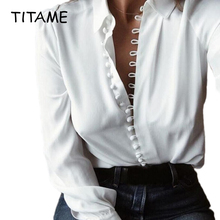 TITAME Women Blouse Shirt Fashion Casual Solid Color Ladies
