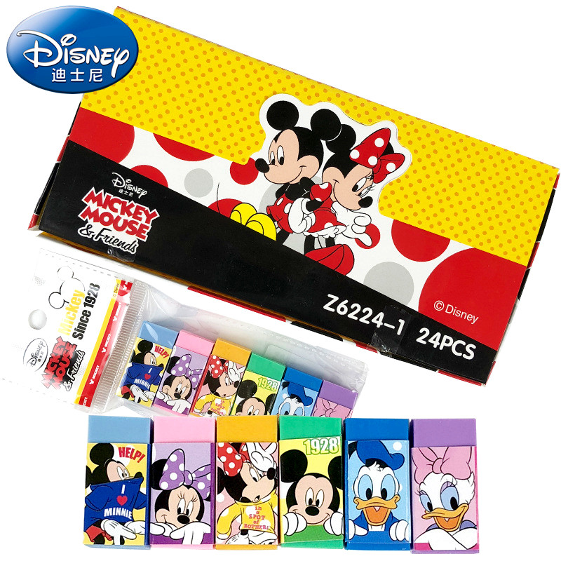 Disney 6 Pcs/set Cartoon School Supplies Erasers For Kids Mickey Minnie Stationery Car Mobilization Erasers Boy Girl Gift
